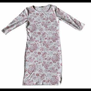 Long sleeve modi's bodycon dress grey pink flowers